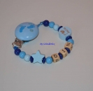 "Schnullerkette ""Stern & I love Mum/Dad"" blau"